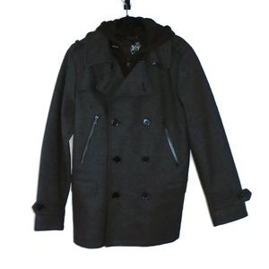 Express Removable Hoodie Pea Coat Jacket Mens S